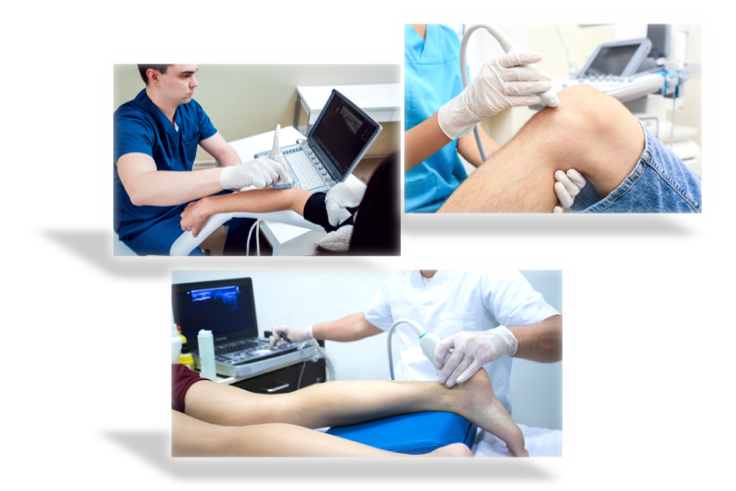 3 pictures of Diagnostic Ultrasound in use